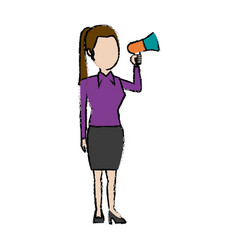 Politician woman holds megaphone advertising vector