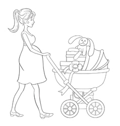 Pregnant woman walks with baby carriage and vector image