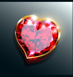 red-heart-jewel-with-gold-frame vector image