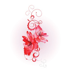 Red vector flowers with flourishes vector