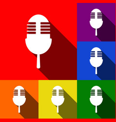 Retro microphone sign set of icons with vector