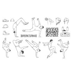 Set of Breakdance Man Silhouettes vector image