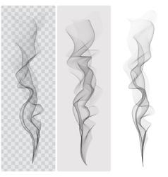 Set of realistic black smoke vector