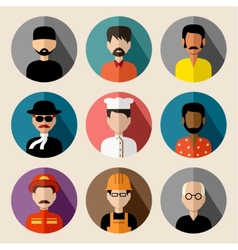 Set of round flat icons with men vector image vector image