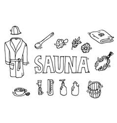 Set of sauna icons vector
