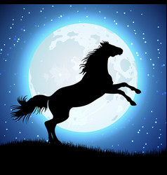 silhouette of horse on the moon background vector image