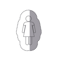 sticker monochrome silhouette of pictogram woman vector image
