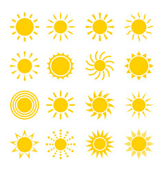 sun icon set vector image vector image