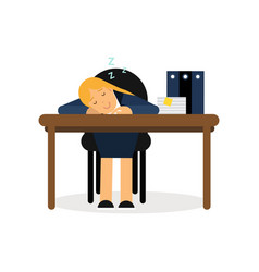 tired businesswoman sleeping on the office desk vector image vector image