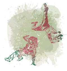 Two break dance dancers on handcrafted splashes vector