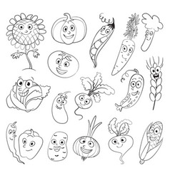 vegetables funny cartoon character vector image