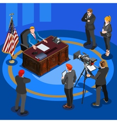 President desk isometric people vector