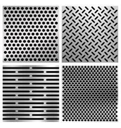 Industrial metal perforated textures vector