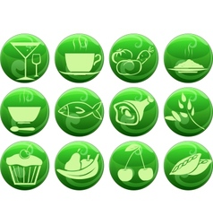 food icons on buttons vector image