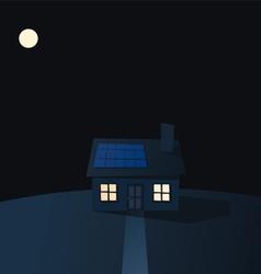 Cartoon solar powered house at night vector image