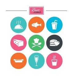 Food drink icons alcohol fish and burger vector