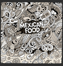 Cartoon mexican food doodles vector