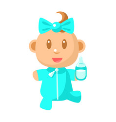 Small happy baby walking in blue pajama holding a vector
