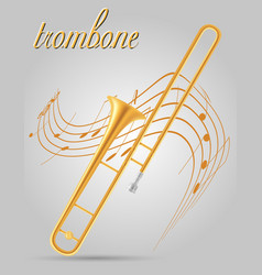 Trombone wind musical instruments stock vector