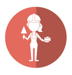 Woman construction with brick and spatula shadow vector