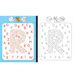 maze letter r vector image