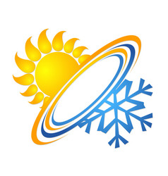 sun and snowflake for air conditioning vector image