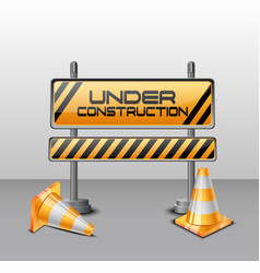 Under construction barrier with road cones vector