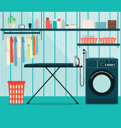 Laundry room with washing machine and ironing vector