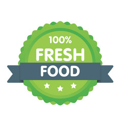 modern green eco badge 100 percent fresh food vector image