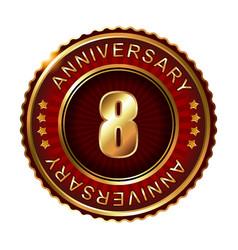 8 years anniversary golden label vector