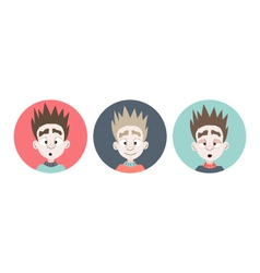 Three emotional boy faces icons vector