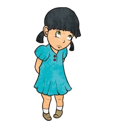 Cute sad guilty little girl in blue dress cartoon vector