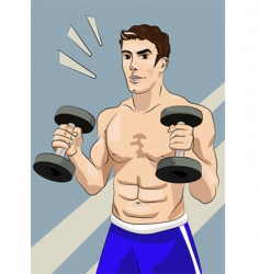 Athletic man with dumbbells vector