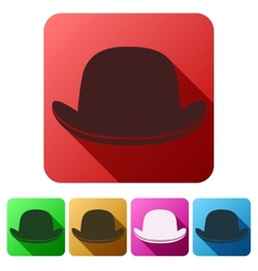 Set flat icons of black gentleman bowler hat vector