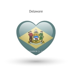 Love delaware state symbol heart flag icon vector