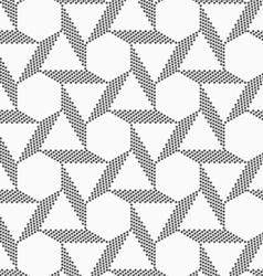 Monochrome striped blocks forming triangles and vector