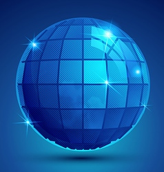 3d blue sphere with flashes shiny dotted vector image