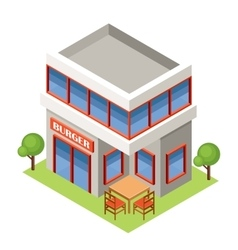 Isometric burger house vector