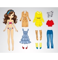 Paper brunette long hair doll vector
