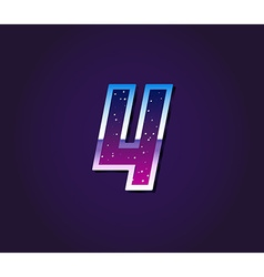 80s style retro sci-fi font digit or number vector
