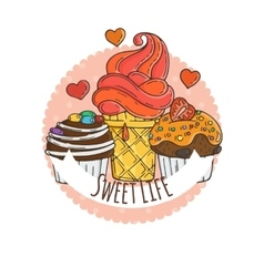 Colorful muffins background cakes sweets vector