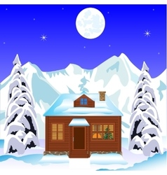 Lodge in wood in winter vector