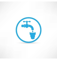 Blue tap water tap icon vector