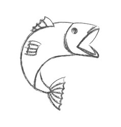 Blurred sketch silhouette of open mouth trout fish vector
