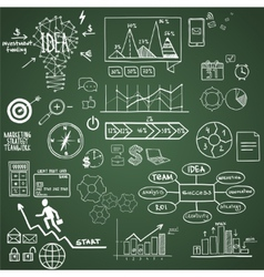 Business finance elements and icons doodle hand vector image vector image