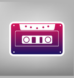 Cassette icon audio tape sign purple vector
