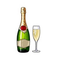 Champagne bottle and glass isolated vector