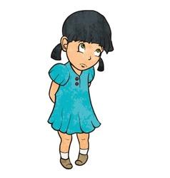 Cute sad guilty little girl in blue dress Cartoon vector image