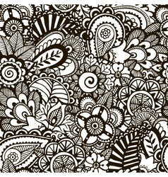 Doodle monochrome print Seamless background vector image vector image
