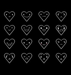 Emoticons doodle hearts black 3 vector